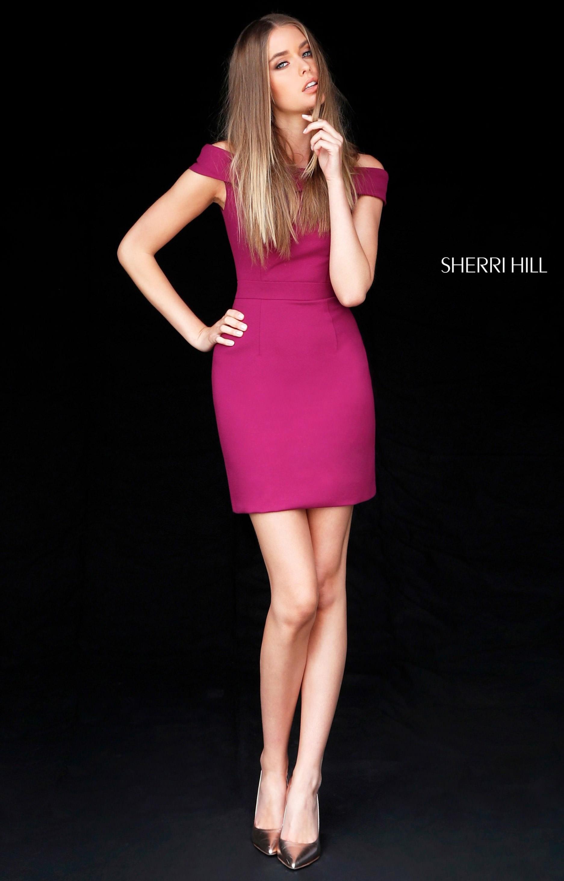 Sherri Hill 51423 - Short Neoprene Off the Shoulder Prom Dress