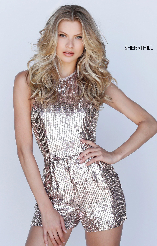 Sherri Hill 51513 Halter Sequin Romper Prom Dress