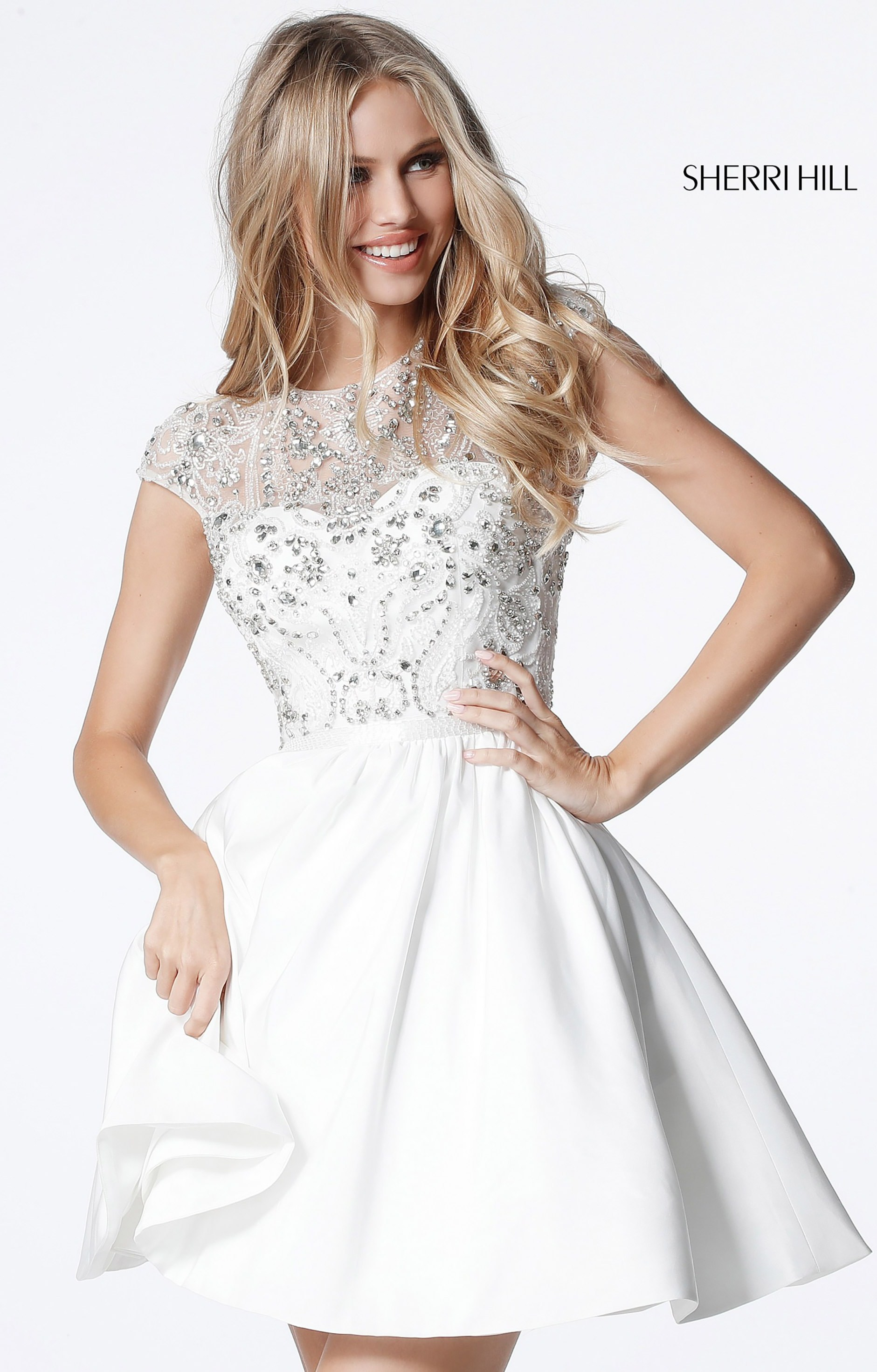bfceb014212 Sherri Hill 51515 - Short Cap Sleeve A-Line Taffeta Prom Dress