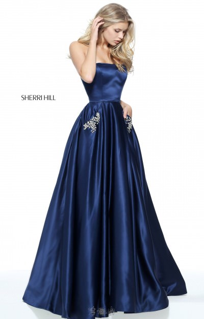 Strapless Satin Ballgown with Beaded Pockets