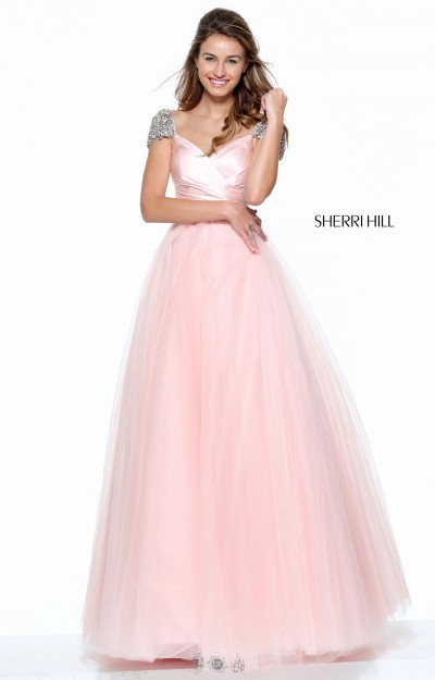 Capped Sleeve Ball Gown