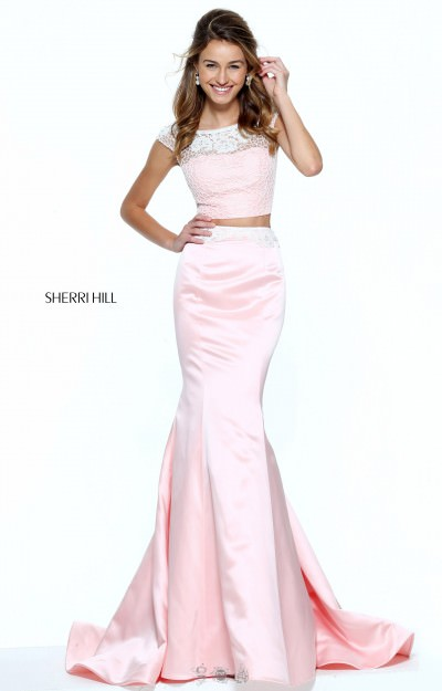 Long Two Piece Beaded Top Mermaid Cap Sleeves