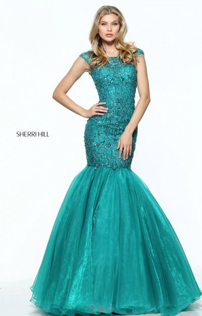 Long Mermaid Beaded With Straps Cap Sleeves and Open Back