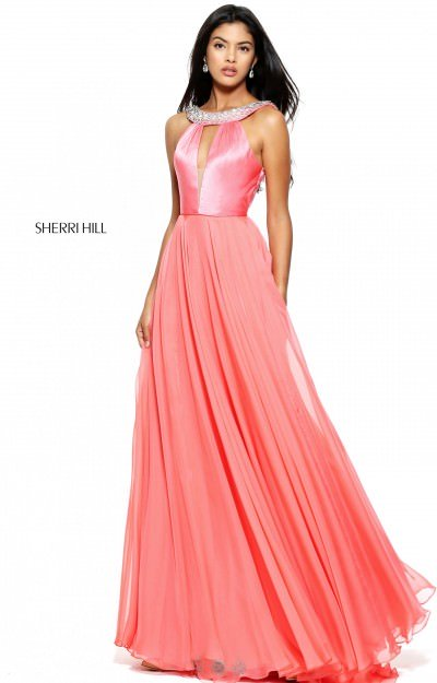 Elegant Satin and Chiffon with Beaded Accents and Plunging V Neckline