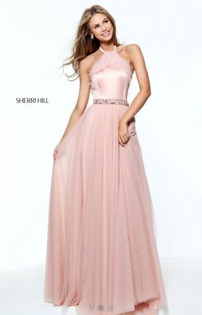 Long A-Line Lace Halter Neckline With Chiffon and Open Back