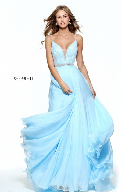 Chiffon A-Line Gown with Straps