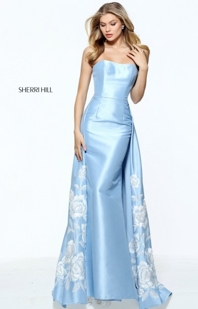 Strapless Satin Embroidered Cape Dress