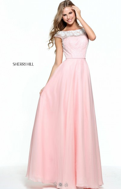 Beaded Boat Neckline with Cap Sleeves and Chiffon Skirt