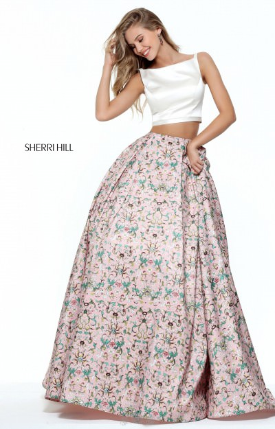 Two Piece  Floral Print Ball Gown