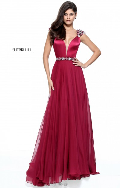 Chiffon V Neckline Gown with Floral Beaded Applique on Shoulders and Waistline