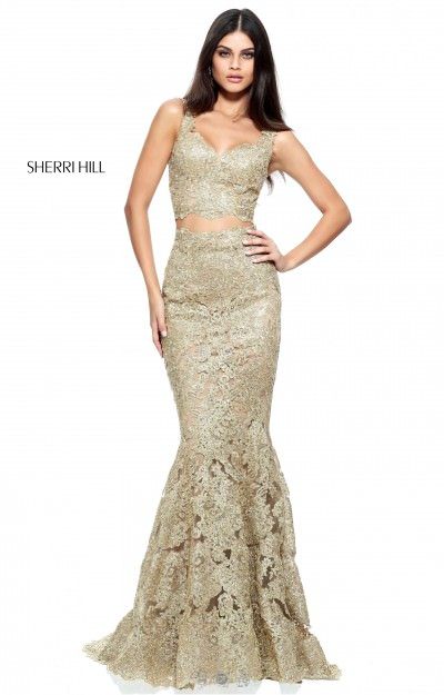 Fitted Gold Sherri Hill Two-Piece