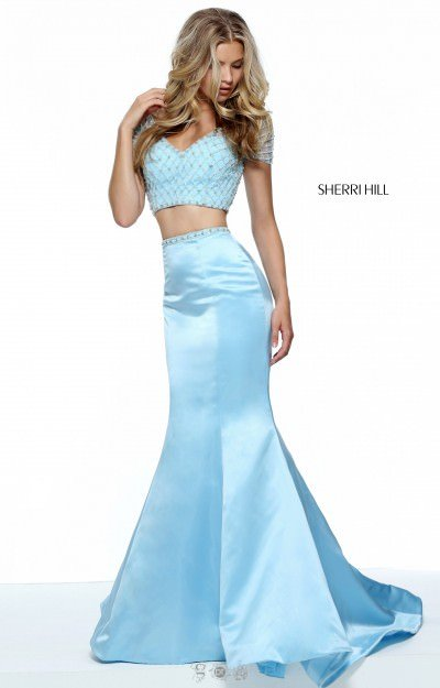 Two-Piece Open Back Mermaid with Short Sleeves and Beadwork