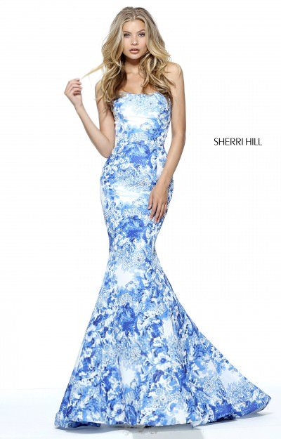 The Ivory and Blue Printed Mermaid Dress