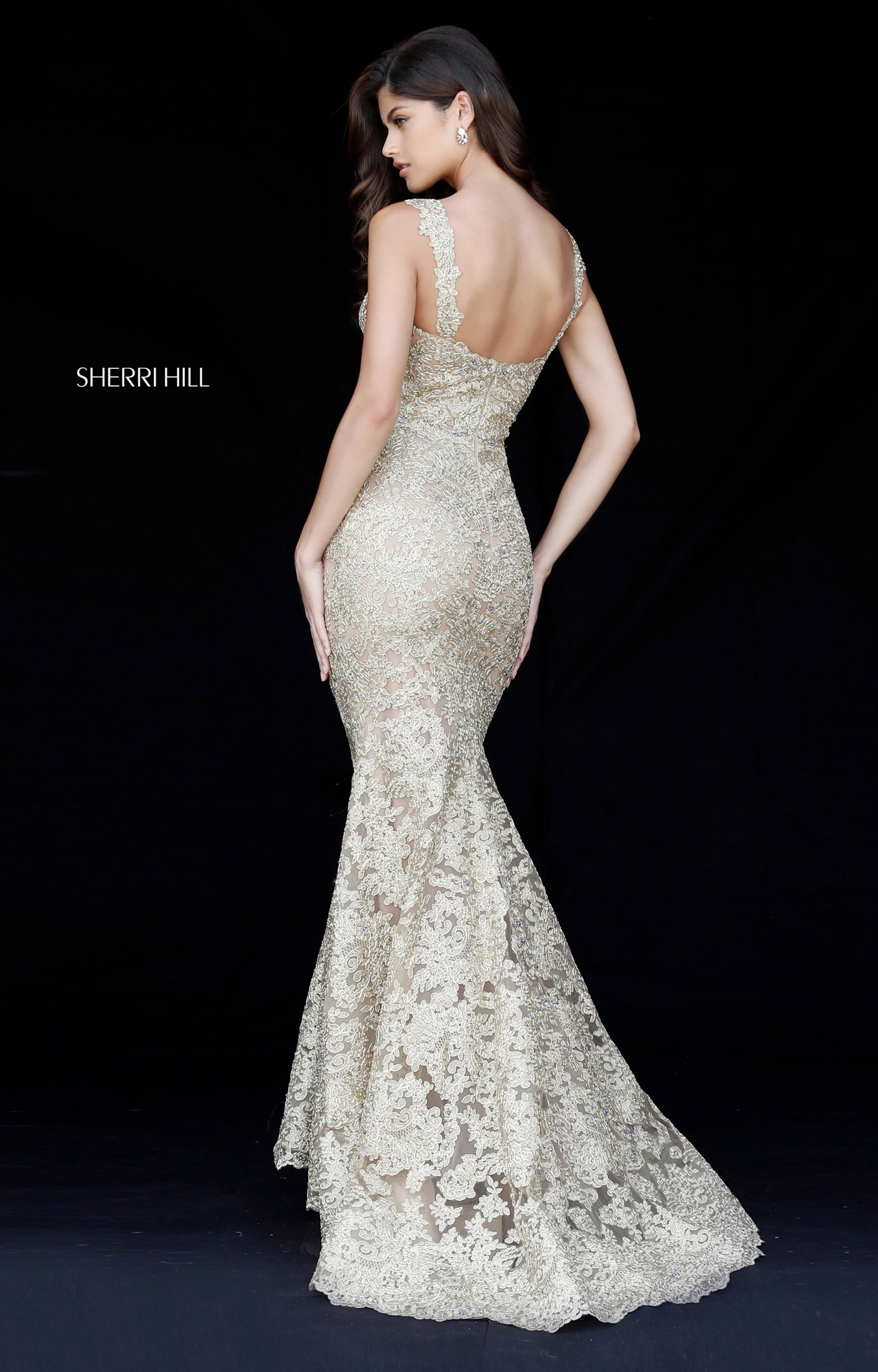 Sherri Hill 51571 Sweetheart Sleeveless Fitted Lace Prom