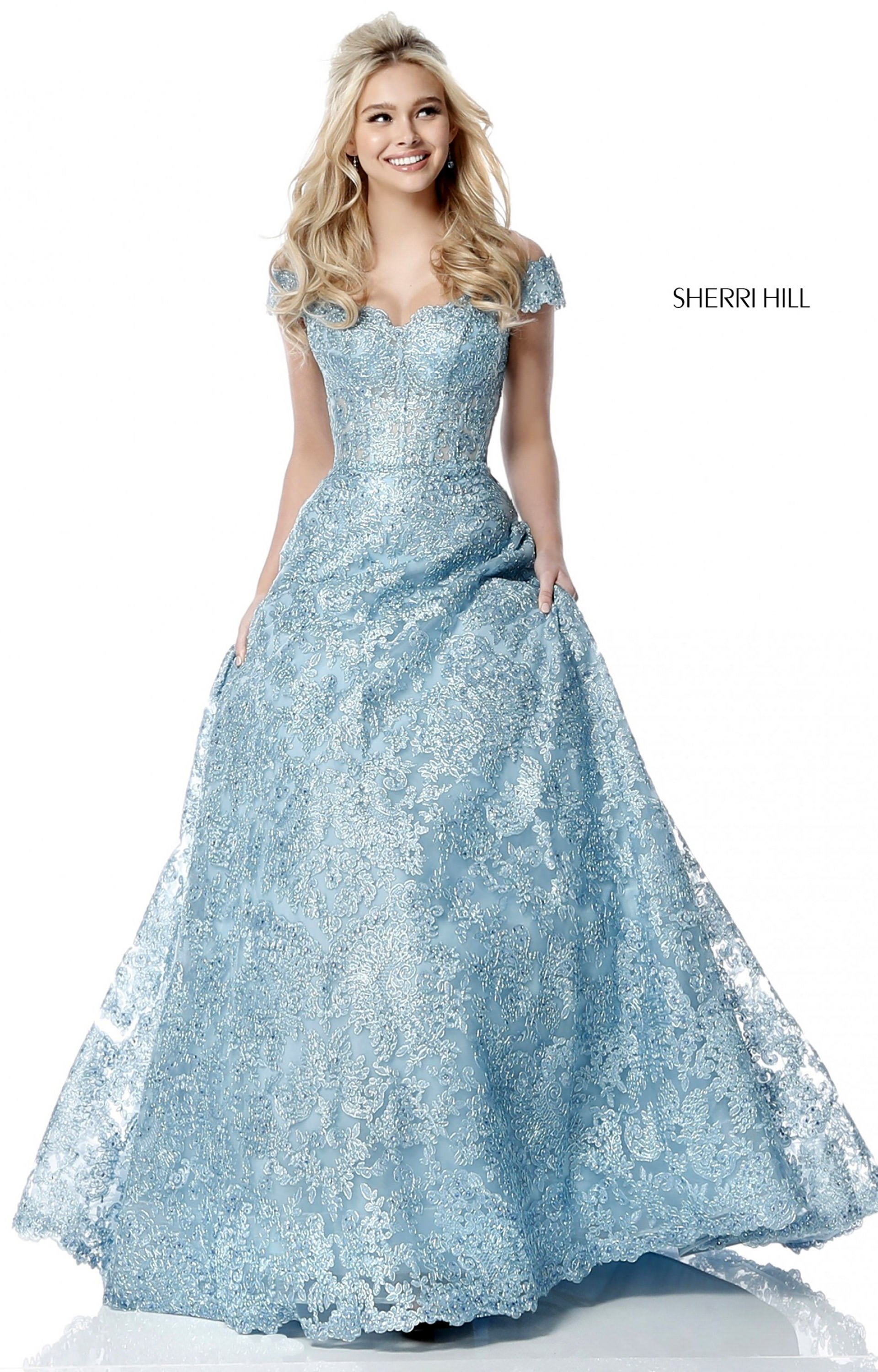 Sherri Hill 51573 Off The Shoulder Lace Ball Gown Prom Dress