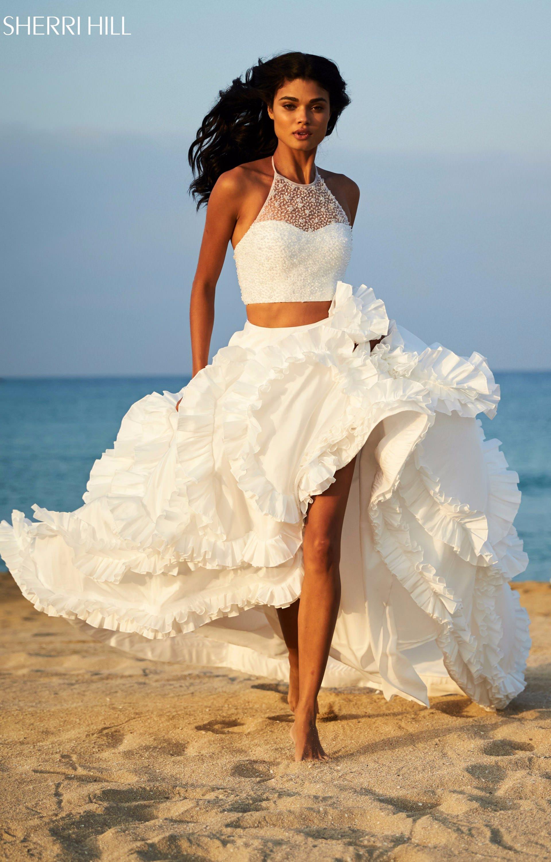 Sherri Hill 51577 - 2 Piece Ruffled Taffeta Ball Gown Prom Dress