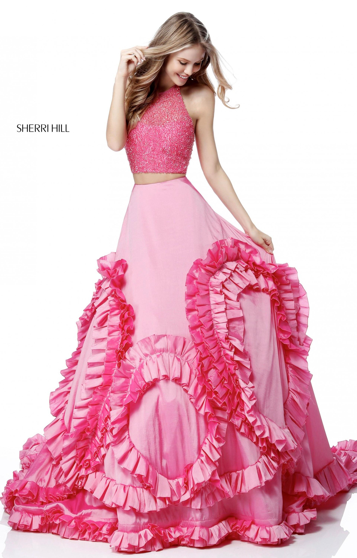 Sherri Hill 51577 2 Piece Ruffled Taffeta Ball Gown Prom