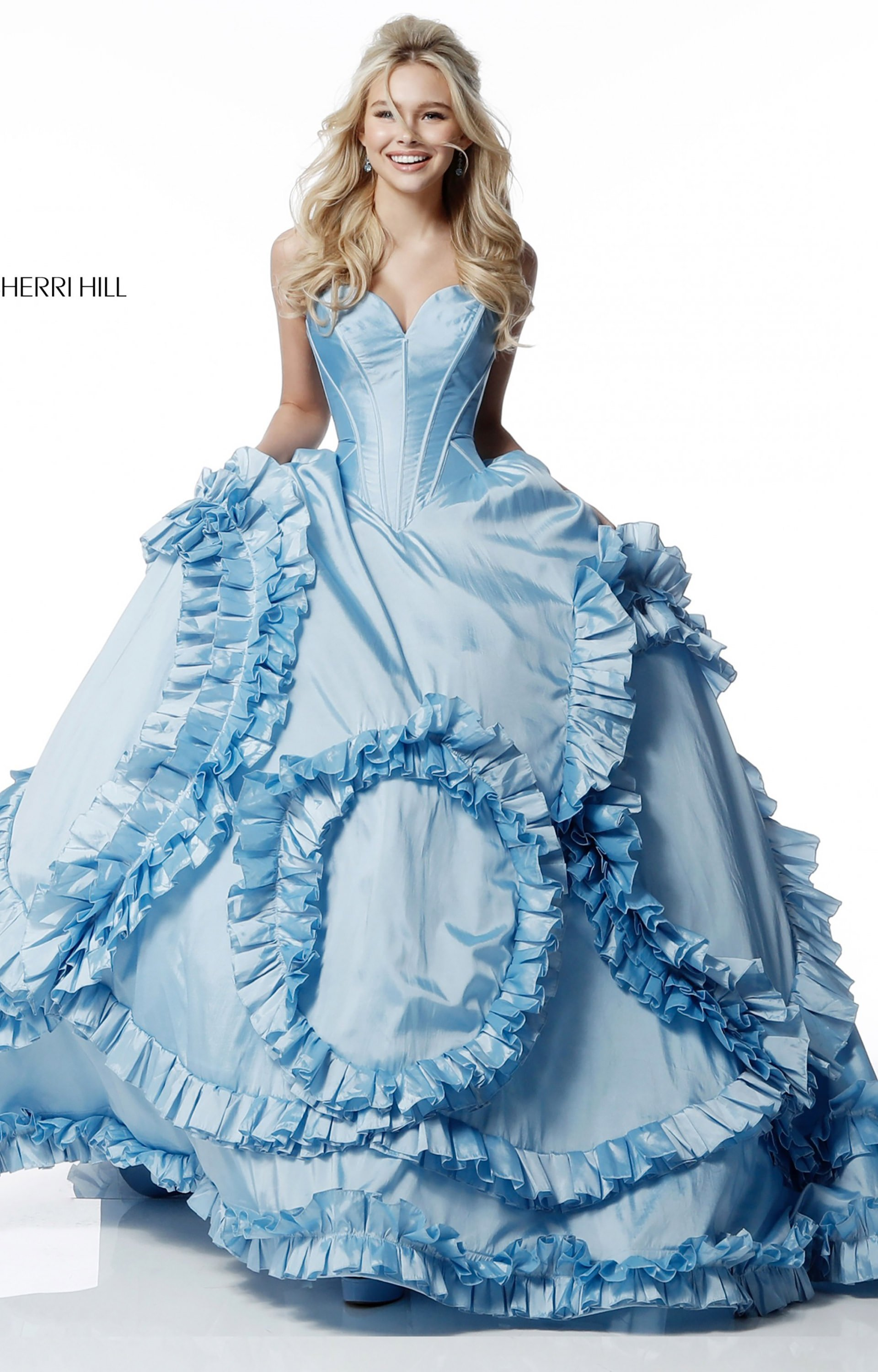 Sherri Hill 51578 - Long Strapless Sweetheart Ruffles Prom Dress