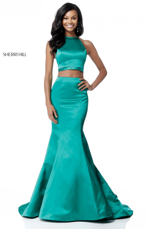 Sherri Hill 51585 2 Piece Satin Mermaid Prom Dress