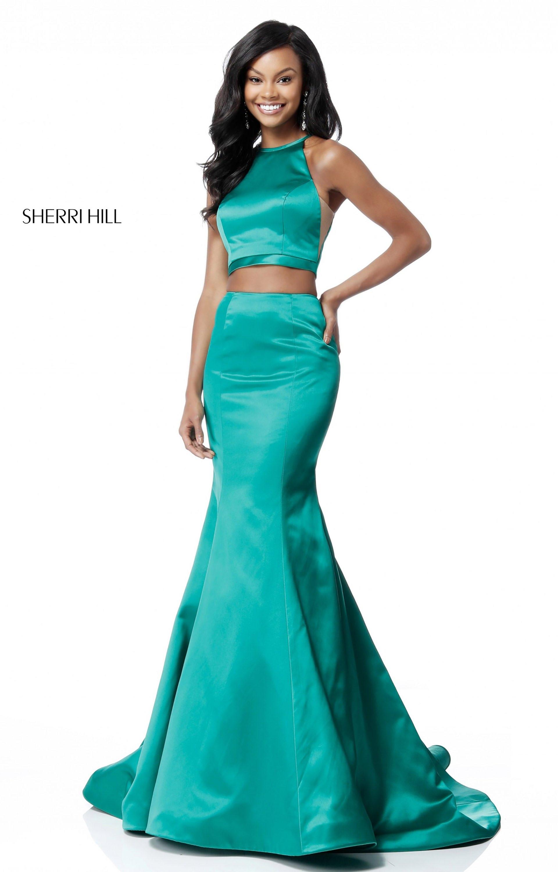 Sherri Hill 51585 - 2 Piece Satin Mermaid Prom Dress