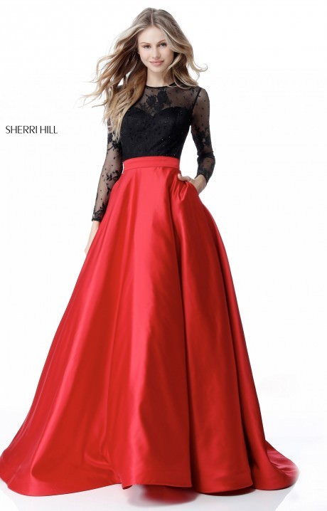 Sherri Hill 51586 - Long Sleeve Satin Ball Gown Prom Dress