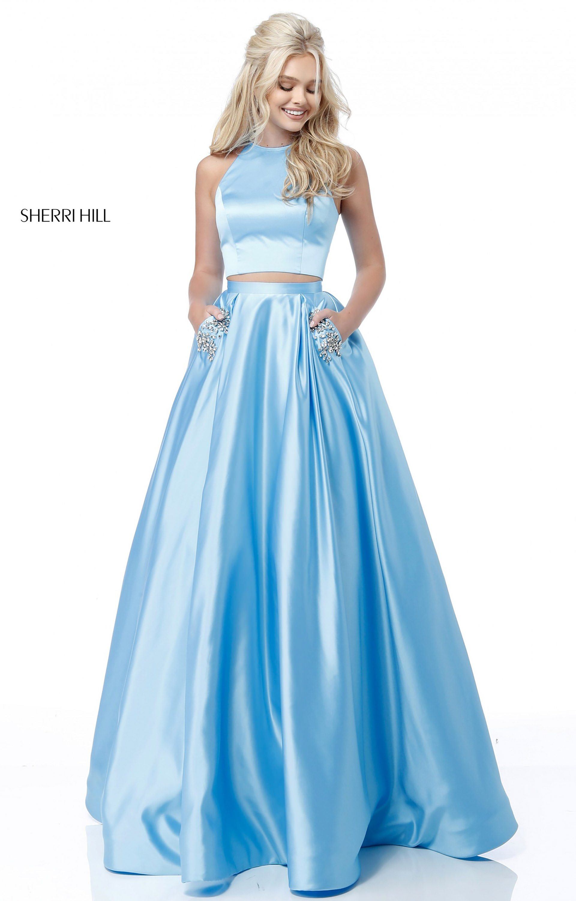 Sherri Hill 51587 - Two Piece Satin Ballgown with Sequined Pockets ...