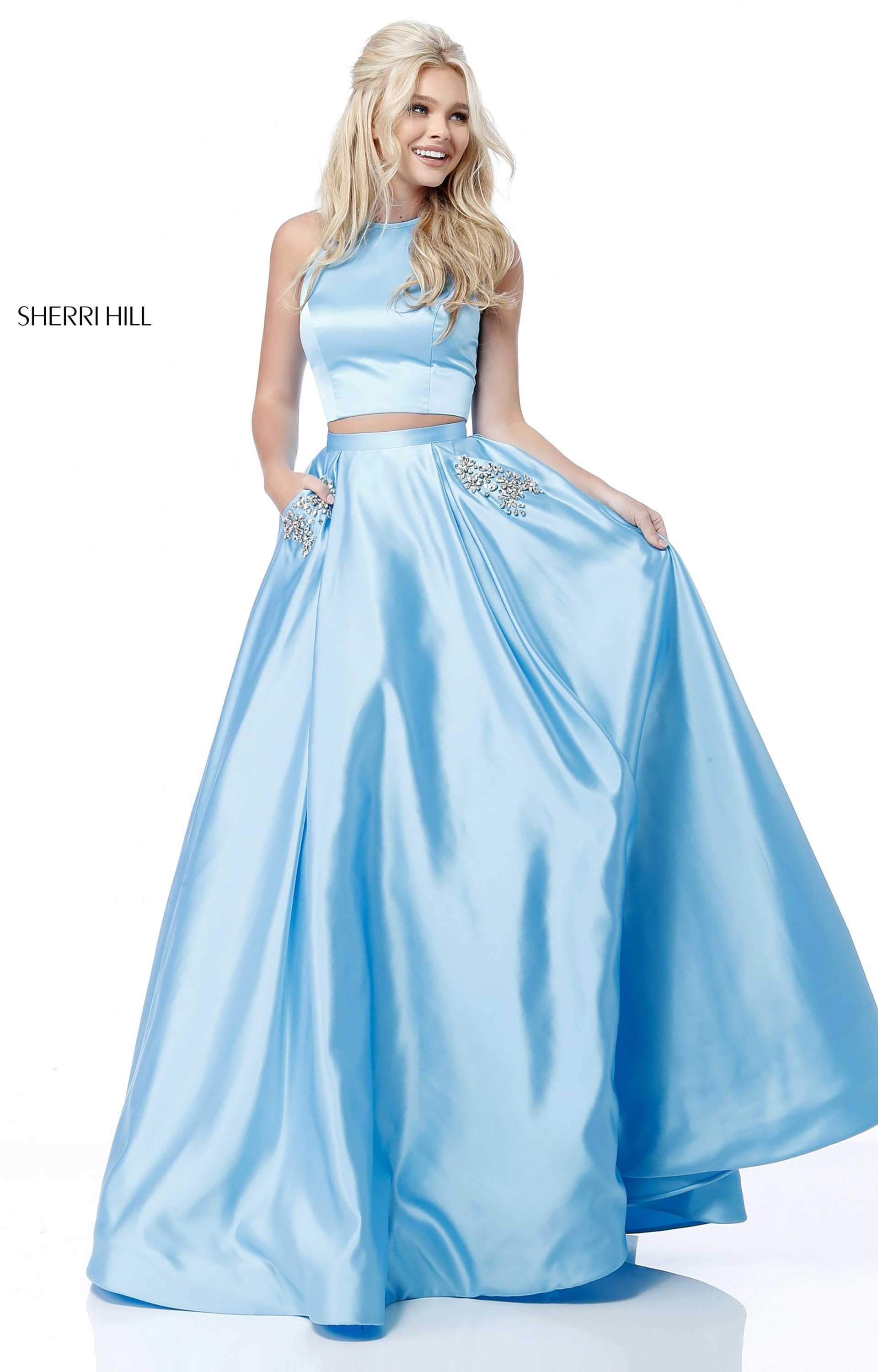 Sherri Hill 51587 Two Piece Satin Ballgown With Sequined