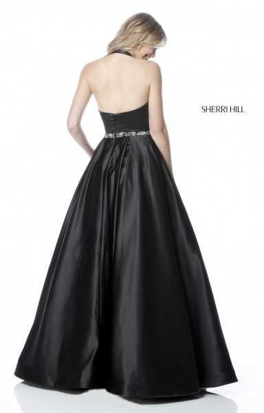 Sherri Hill 51588 Halter, Has Straps and V-Shape picture 1