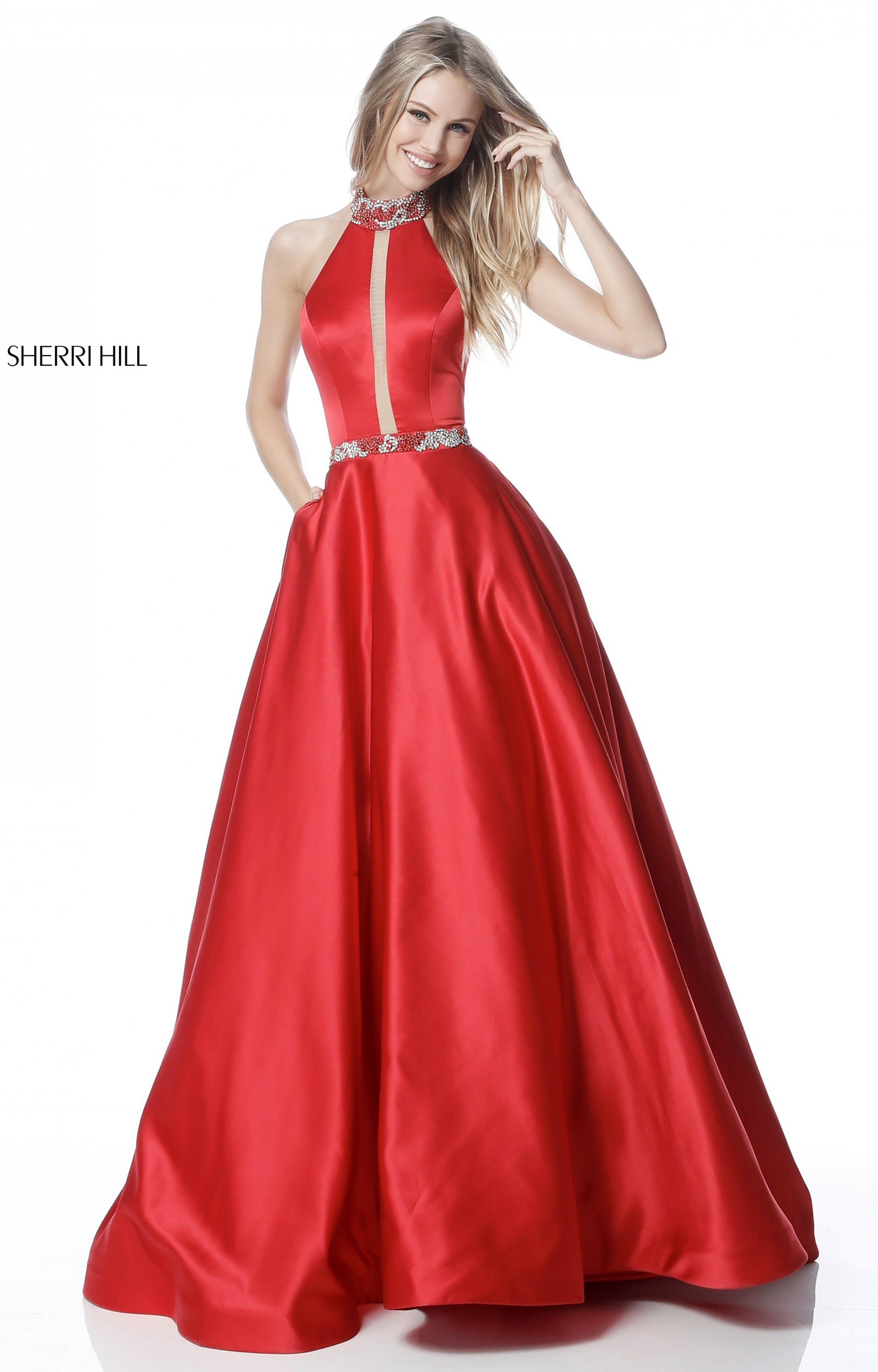 Sherri Hill 51589 Halter Satin Ball Gown Sequined Collar