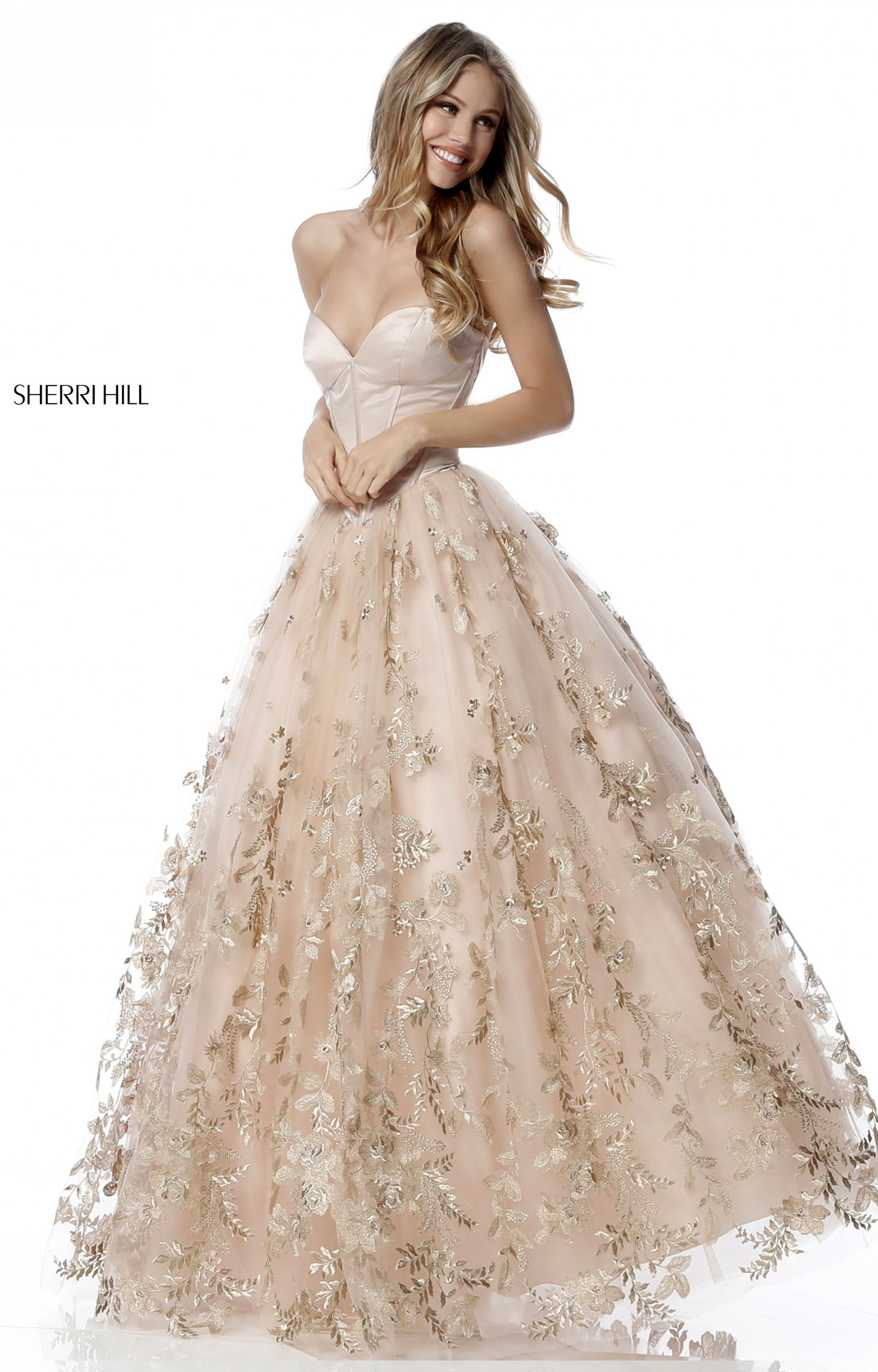 Sherri Hill 51595 Strapless Sweetheart Tulle Ball Gown