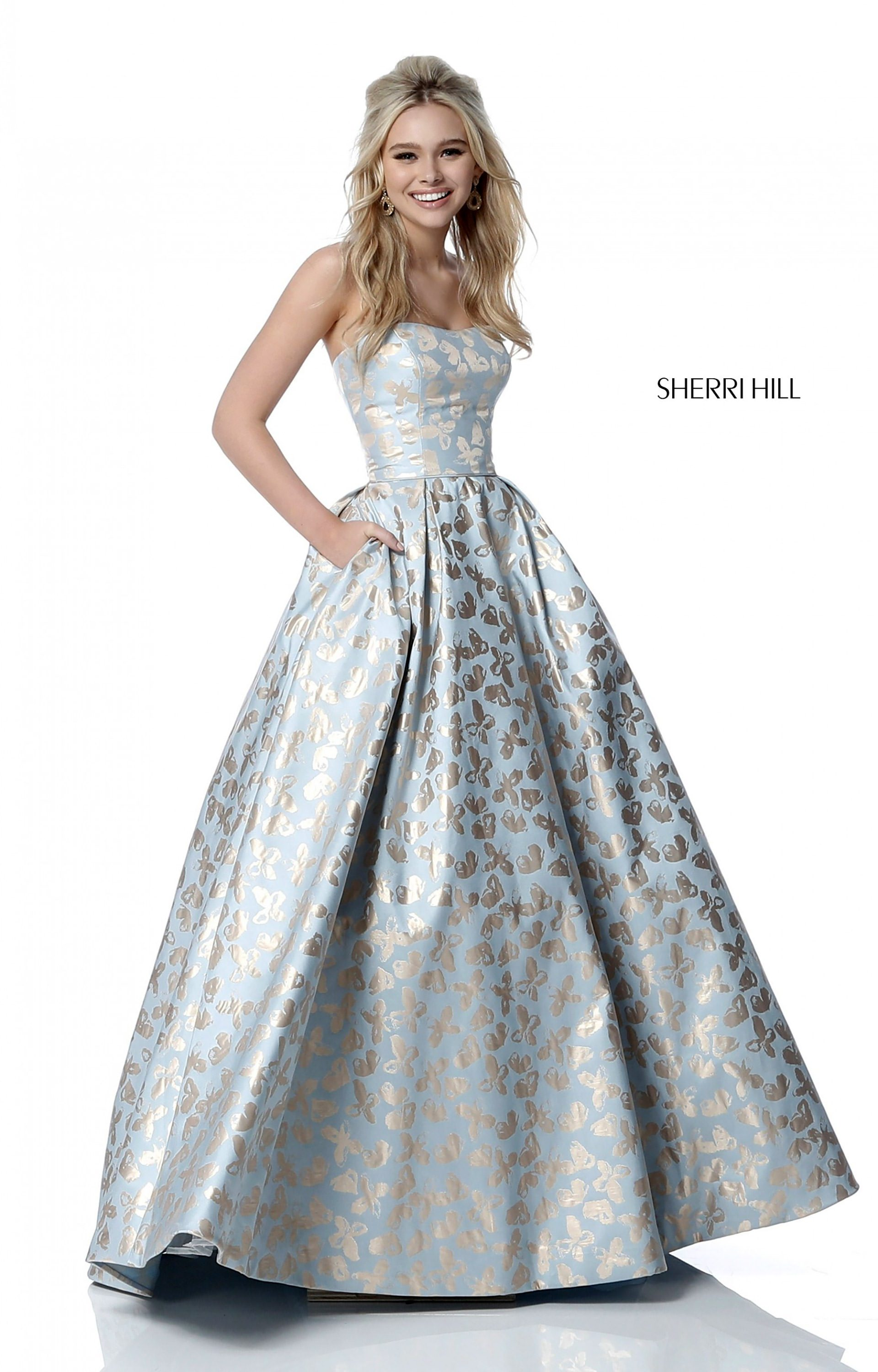 Sherri Hill 51597 - Strapless Ball Gown with Pockets Prom Dress