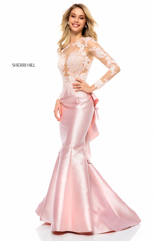 Sherri Hill 51606 Long Mikado Mermaid Sleeves Prom Dress