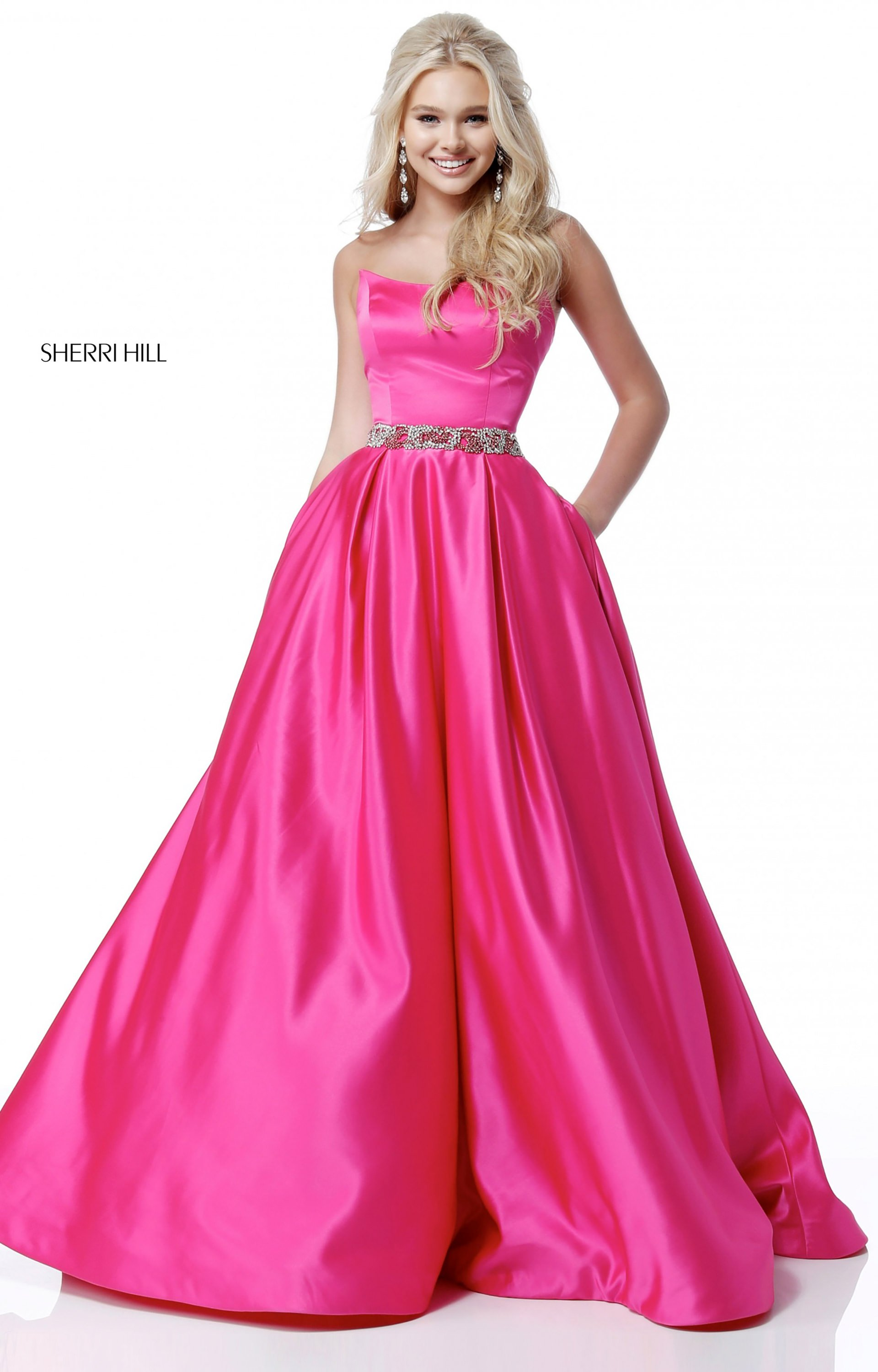 Sherri Hill 51609 - Strapless Satin Ball Gown with Sparkle Belt Prom ...
