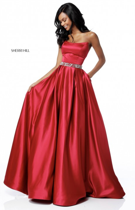 Sherri Hill 51609 Strapless Satin Ball Gown With Sparkle