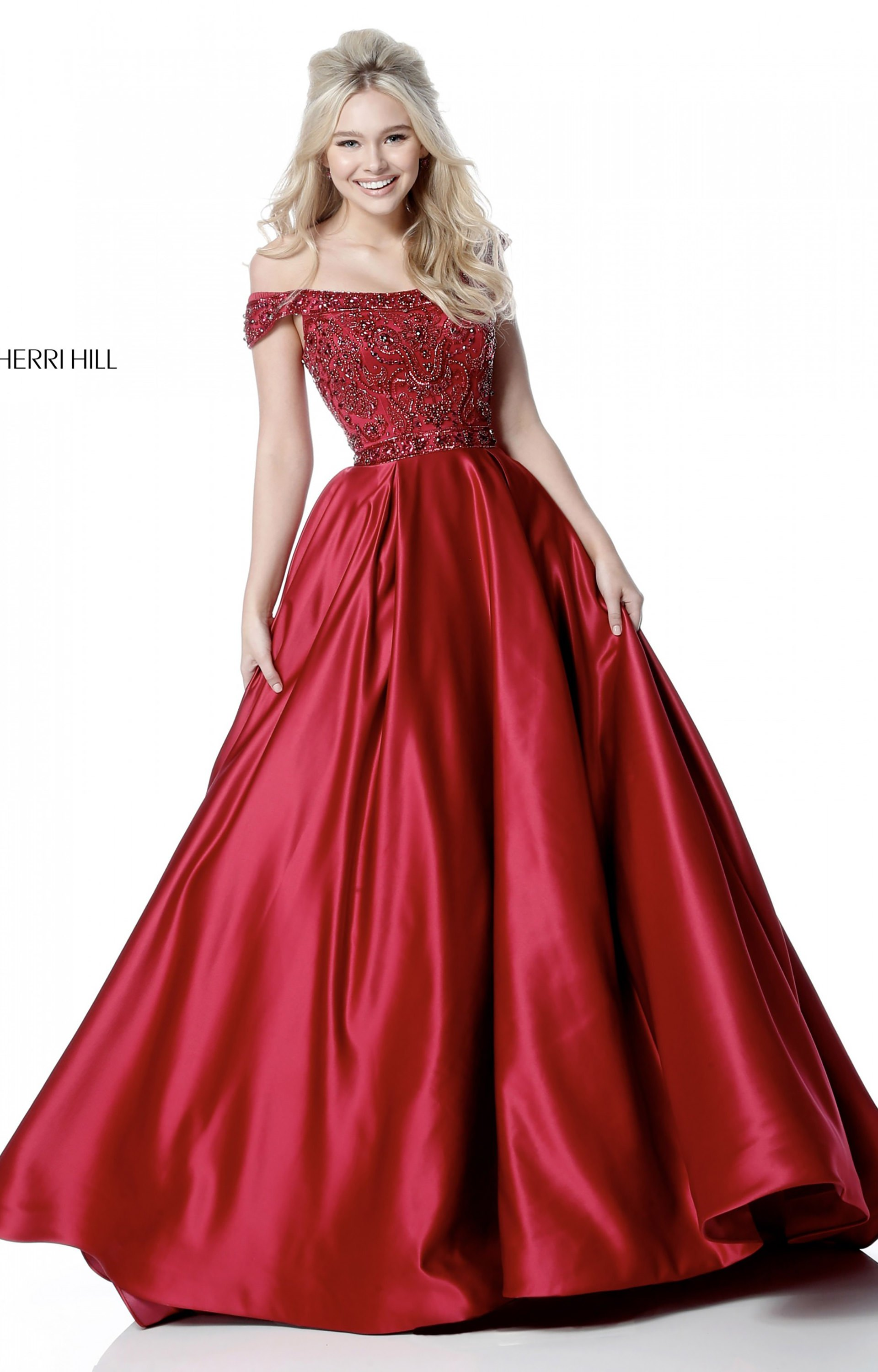 Sherri Hill 51610 Off The Shoulder Satin Ball Gown Prom