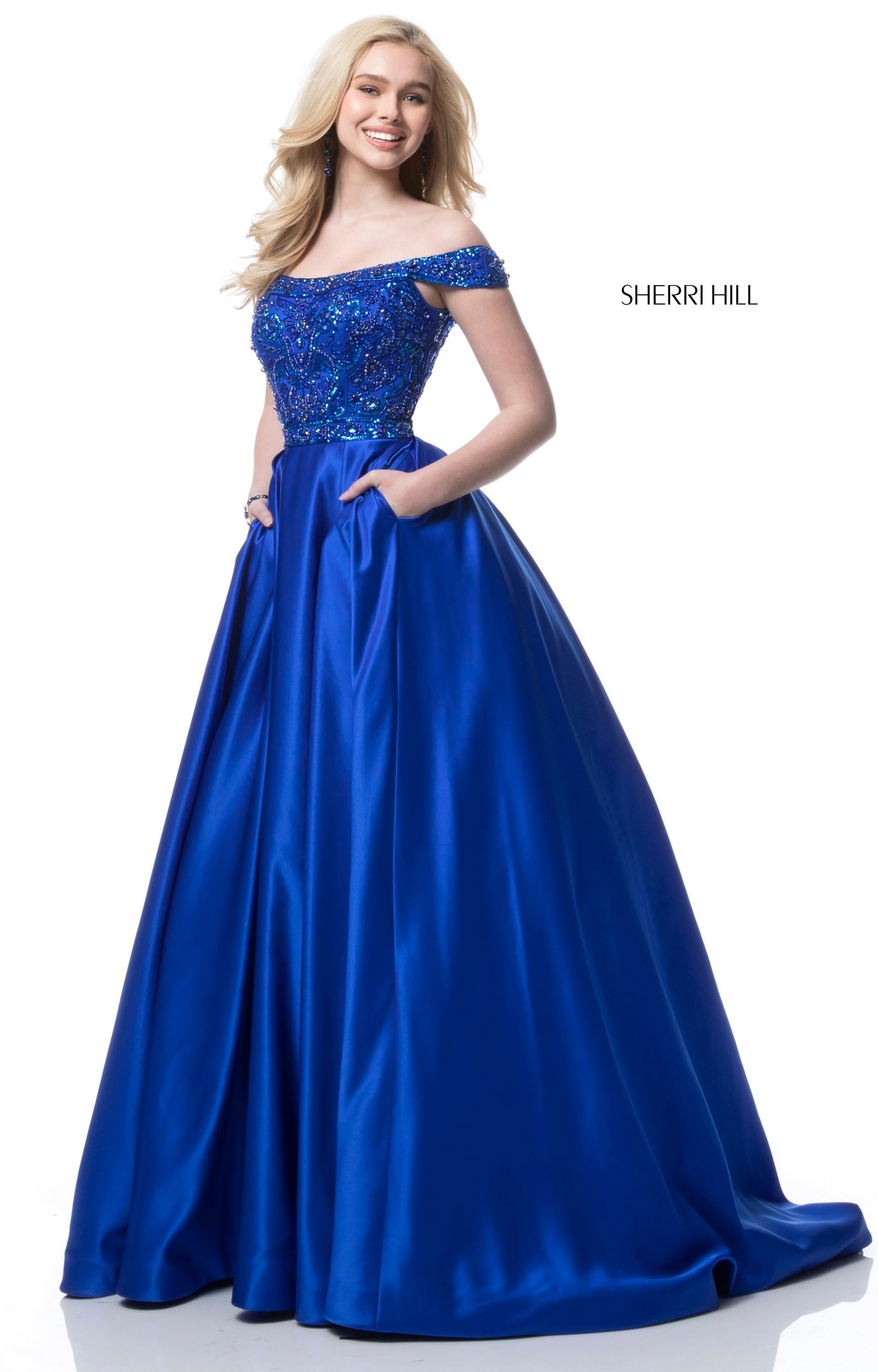Sherri Hill 51610 - Off the Shoulder Satin Ball Gown Prom Dress