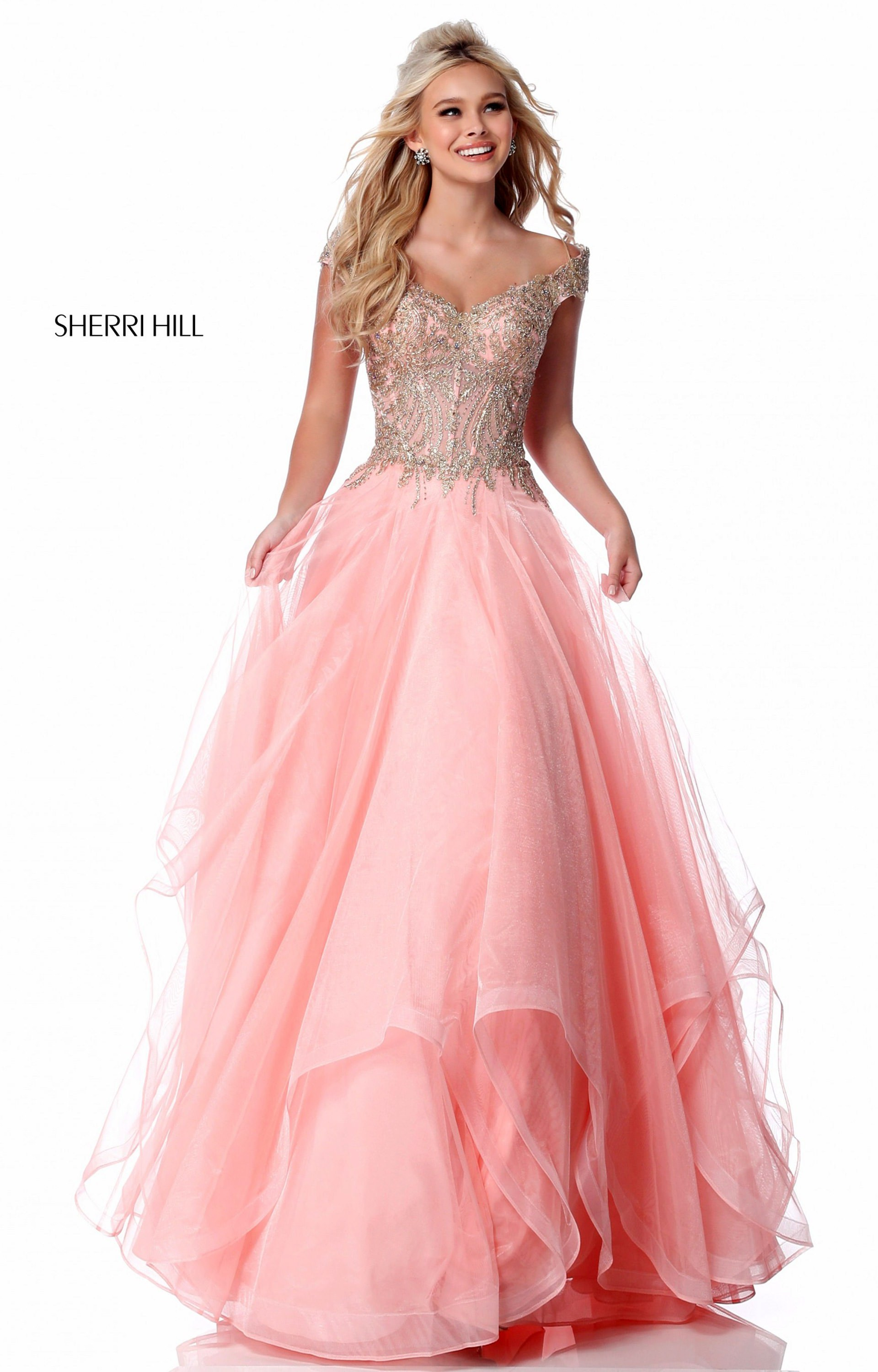 7d9ef71d09e1 Sherri Hill 51614 - Off the Shoulder A-Line Tulle Ball Gown