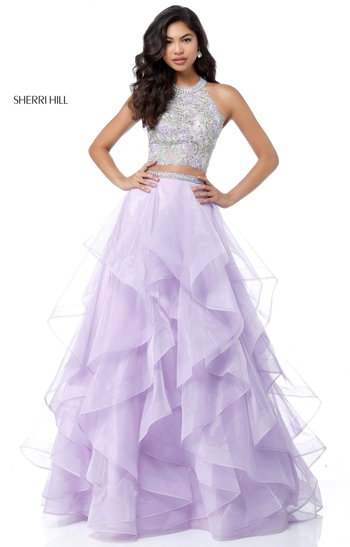 Sherri Hill 51615 2 Piece Ruffled Organza Ball Gown Prom Dress