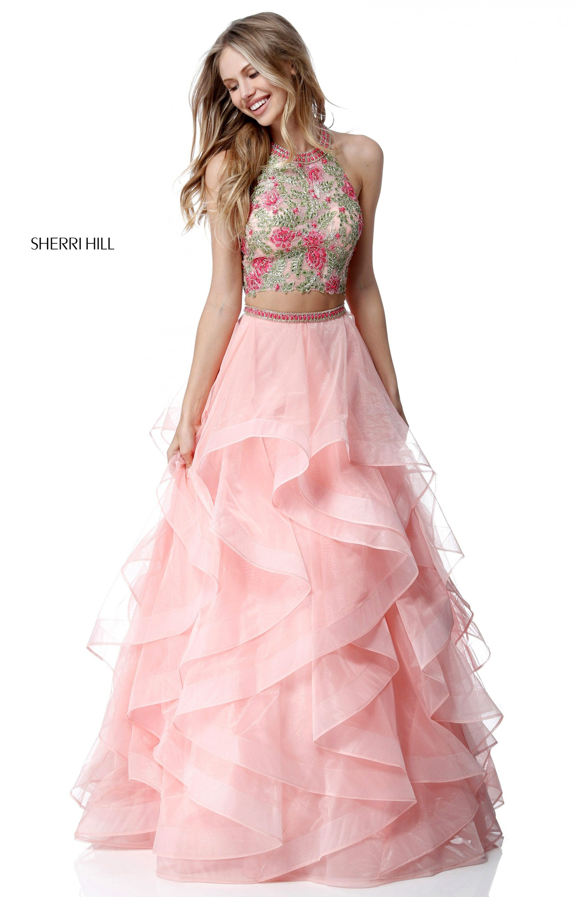 Sherri Hill 51615 - 2 Piece Ruffled Organza Ball Gown Prom Dress