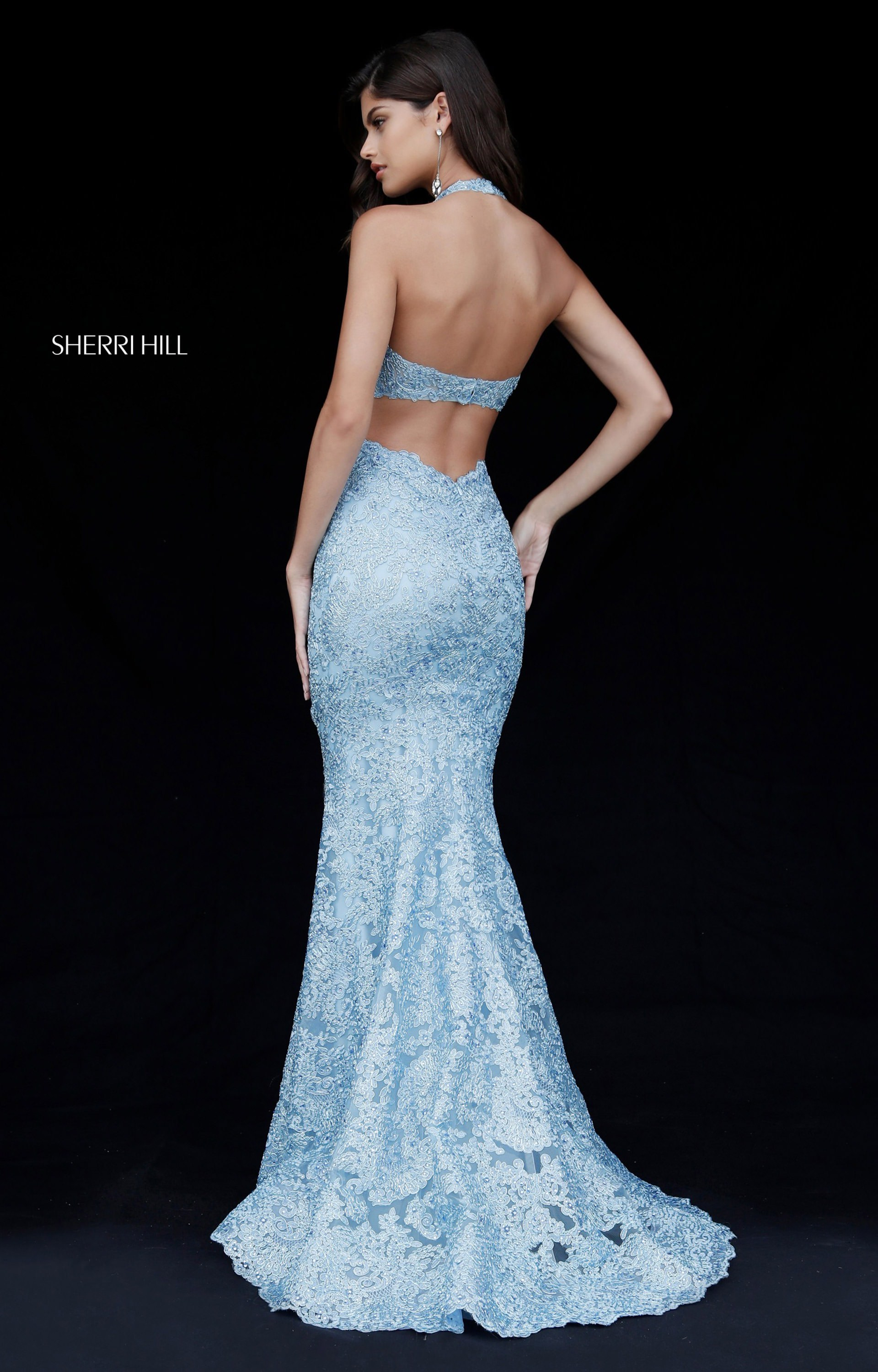 Sherri Hill 51616 - Long Fitted Lace Halter Prom Dress