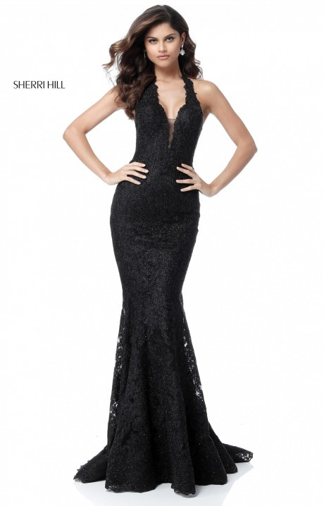 Sherri Hill 51616 Long Fitted Lace Halter