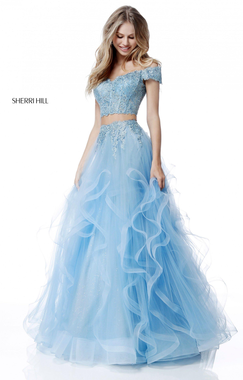 Sherri Hill 51617 - Off the Shoulder Layered Skirt 2 Piece Dress ...
