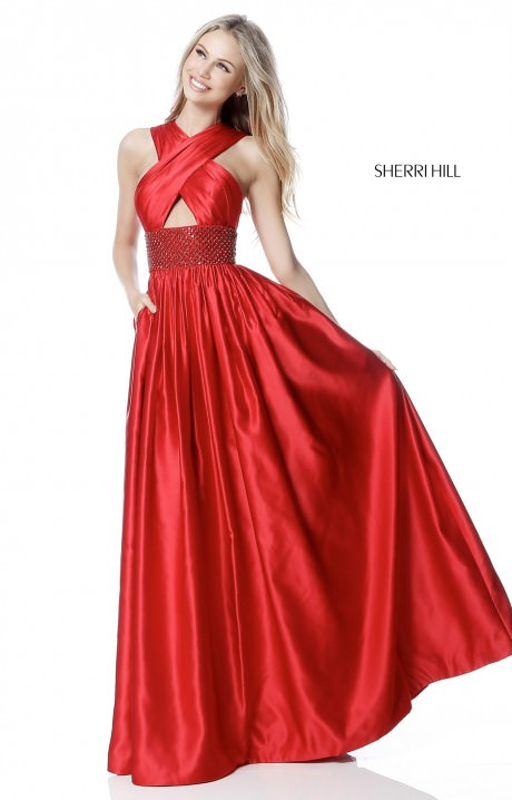 Sherri Hill 51621 A Line Satin With Criss Cross Halter