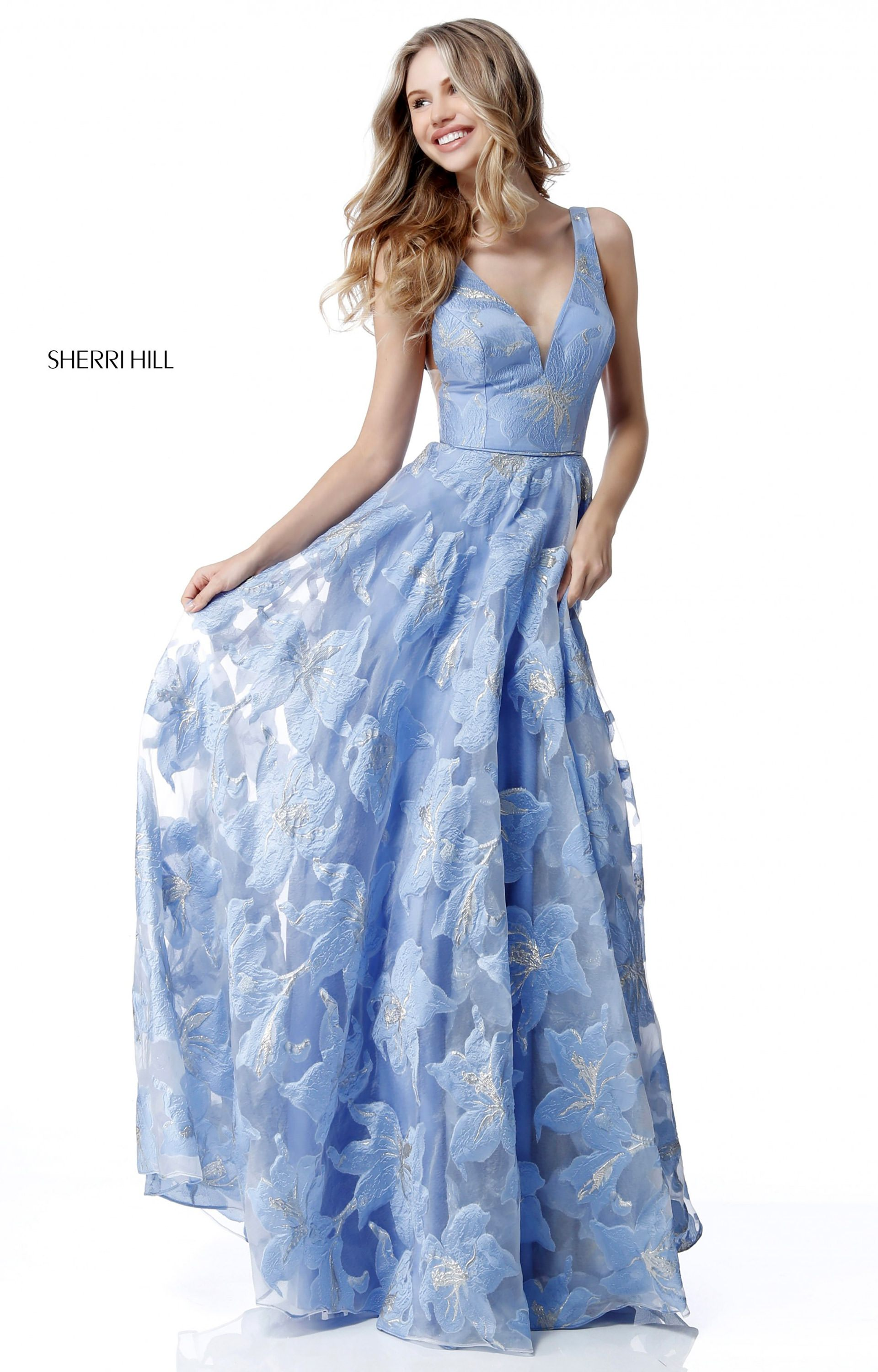 Sherri Hill 51628 - Long Organza A-Line V-Neck Prom Dress