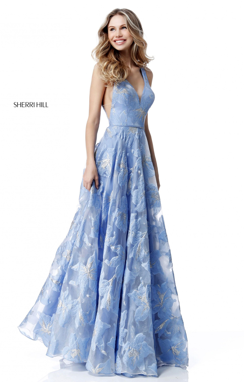 Sherri Hill 51628 - Long Organza A-Line V-Neck Prom Dress