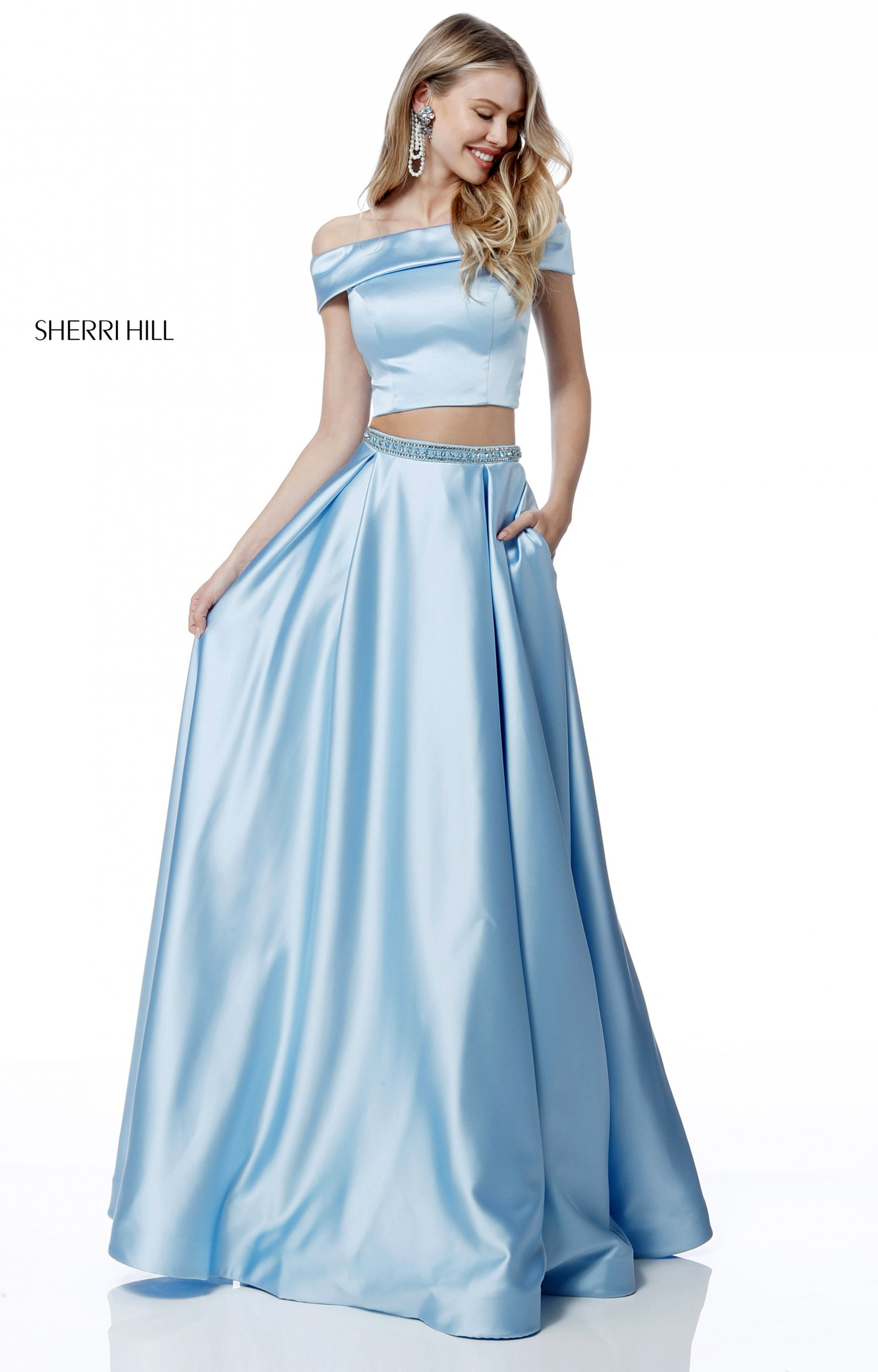 Sherri Hill 51632 - Two Piece Satin Off the Shoulder Prom Dress