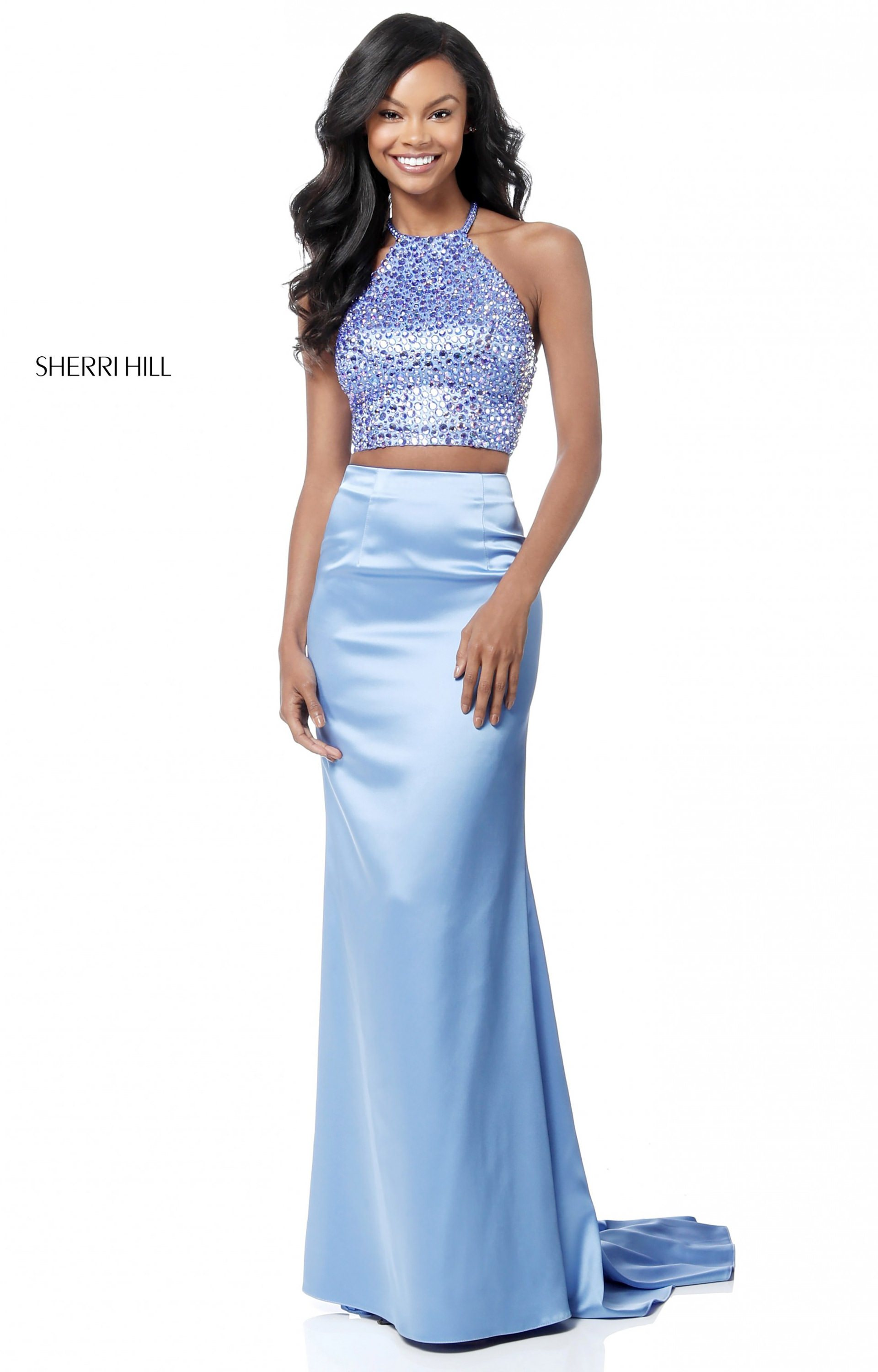 50915aab9f8 Sherri Hill 51647. Long Fitted Satin 2 Piece. Shine bright in Sherri Hill  51647! This adorable two piece set showcases a tonal beaded halter ...