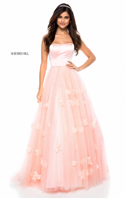 Sherri Hill 51672 Strapless Tulle Ball Gown Prom Dress