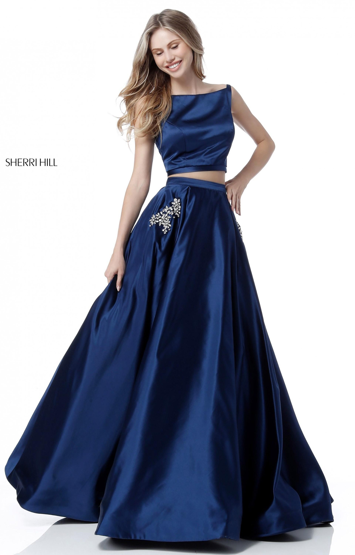Sherri Hill 51673 2 Piece Satin Ball Gown Prom Dress