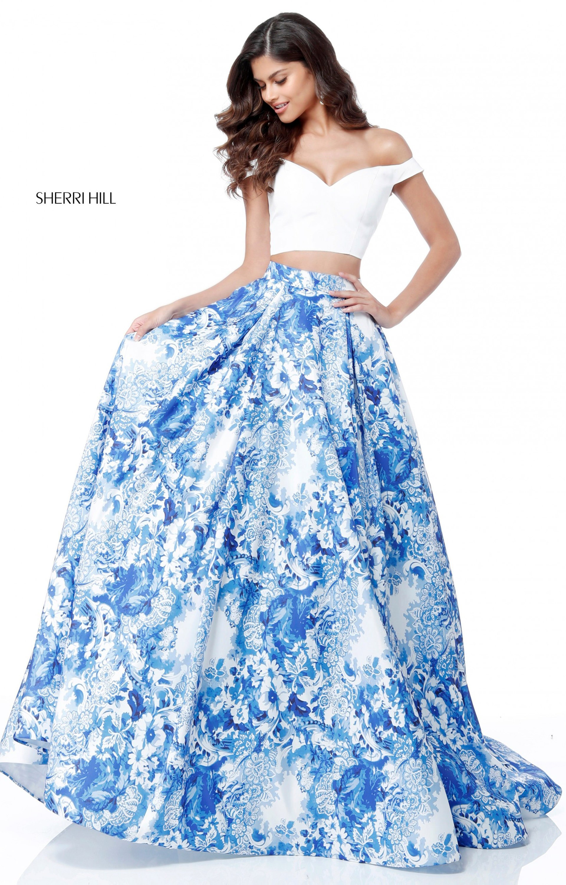 Sherri Hill 51680 - Off the Shoulder 2 Piece Printed Ball Gown Prom ...